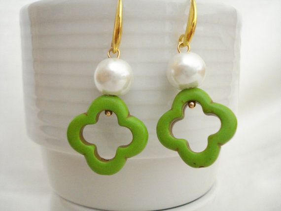 Green clover pearl earrings Quatrefoil gemstone drops by Poppyg