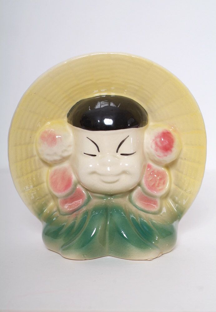 Excited to share the latest addition to my #etsy shop: Vintage pocket head vases asian / Figurine / gift / 1950s / Collectibles / vintage  / antique vase / oriental wall  / 40s / Mid century 50s