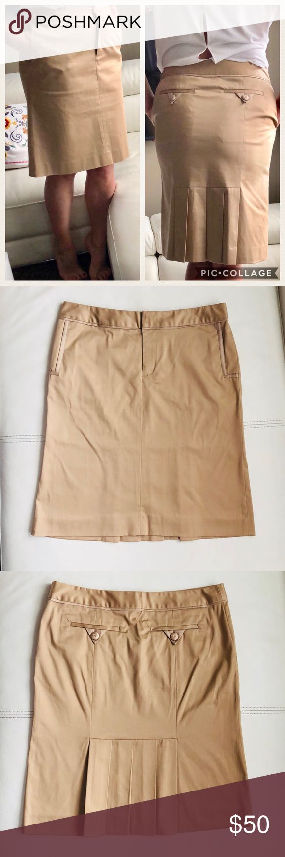 """MARC JACOBS Skirt Marc Jacobs Skirt  Color: tan/ beige Size 10 Waist 16.5"""" Length 23"""" Very comfy, 4 real pockets (2 front - 2 back)  Flattering back pleats! Body: 98% cotton 2%lycra  Lining: 100% polyester Trim: 100% silk  A lot of attention to details. Very comfy and perfect for a work day! Marc Jacobs Skirts"""