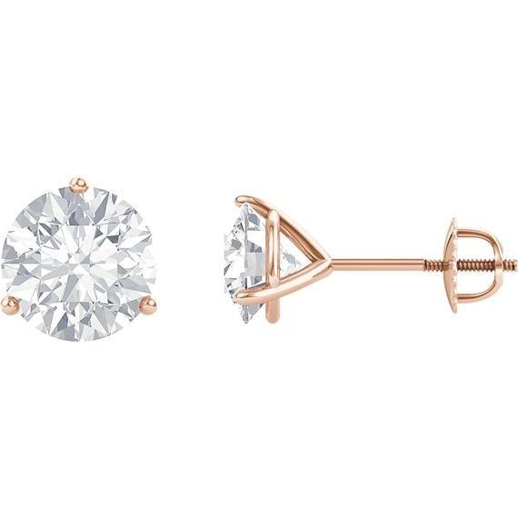a526d9c9e 14K White Gold or Rose Gold Moissanite Screw Back Stud Earrings ...