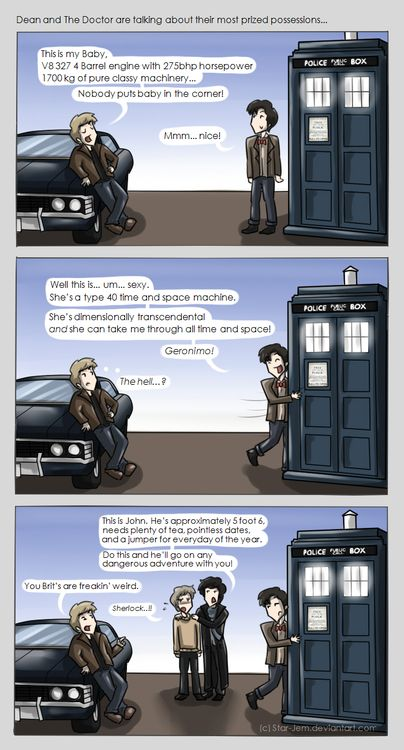 Superwholock - Most Prized Possessions by ~Star-JemRandom Geeky, Crossover, Supernatural, Prizes Possessive, Superwholock, Doctors Who, My Friends, Sherlock, Fandoms