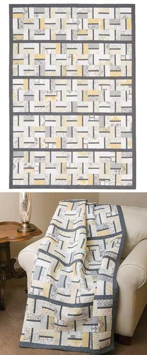 Strip-piecing quilt - large throw size with neutral colors