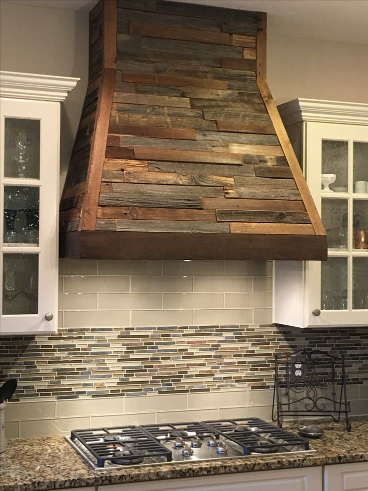 Custom Wood Hood Created With Reclaimed Wood Tile From Louisville Tile
