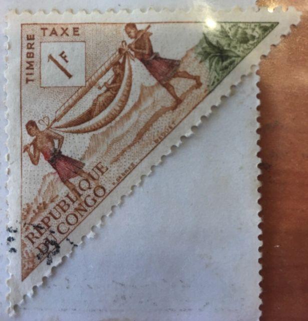 Republique du Congo Timbre taxe 1f. Vintage foreign stamp.   eBay
