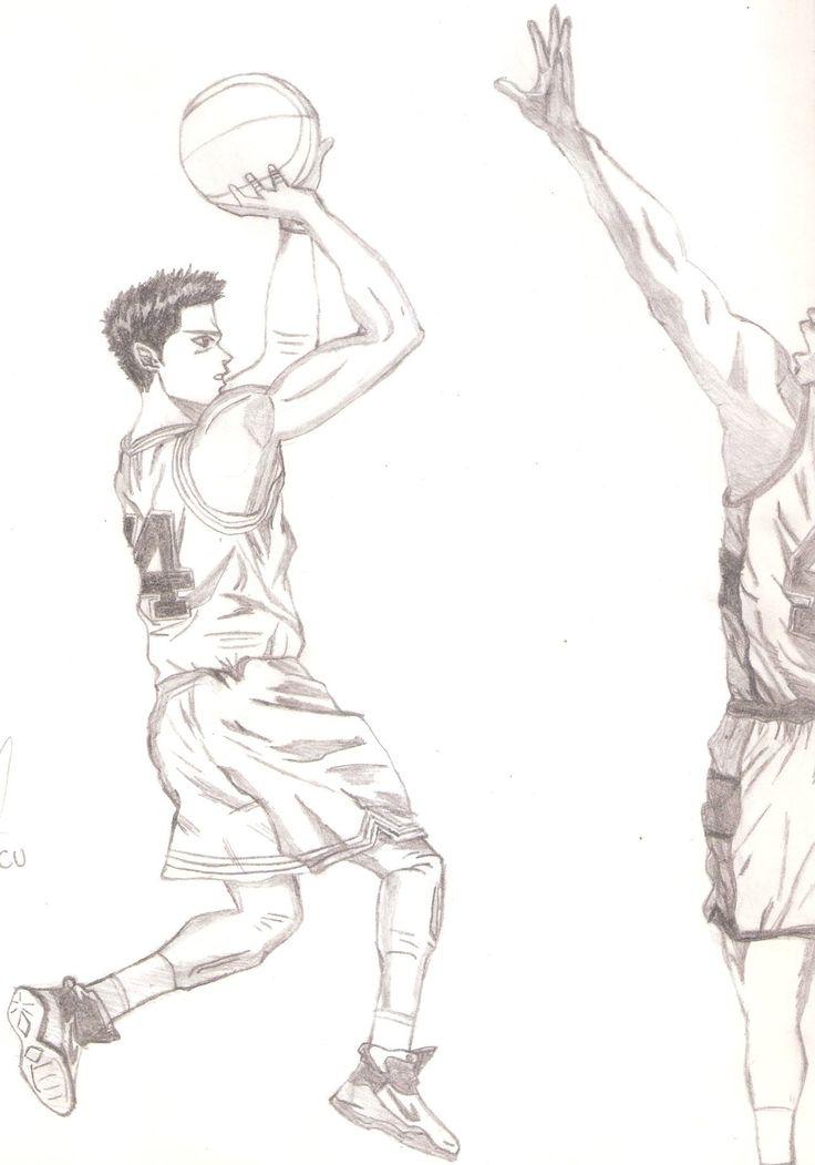 Scan de dibujo original de Mitsui enfrentando a Sendoh en el Campeonato de Invierno.   #Mitsui; #Mitsui/Sendoh; #SlamDunk Artista: 14onfire!