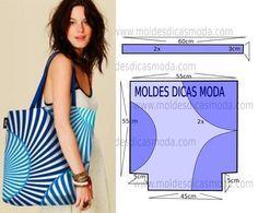 Molde de bolsa de praia com medidas para desenhar em papel. Para confeccionar este modelo necessita 70 cm de tecido, o mesmo para o forro.