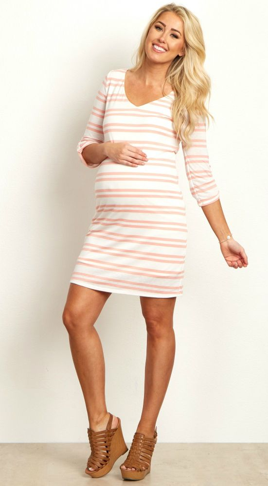 We love the chic striped print and bright hues of this beautiful maternity dress. The soft material is sure to keep you comfortable all day and night and will easily accommodate a growing belly. Pair this pretty maternity dress with your favorite booties and you're ready for anything!