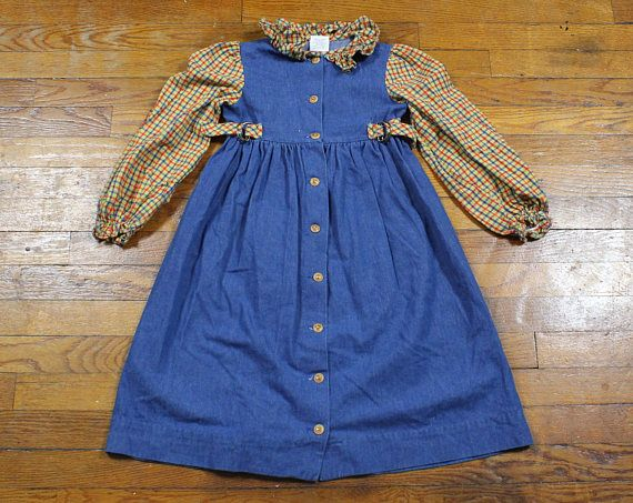 Vintage 70s Style 90s Girls Dress Yellow Gold Plaid Flannel #girls #dress #1970s #does #90s #1990s #grunge #soft #softgrunge #chambray #denim #plaid #flannel #babydoll #dress #etsy #vintage