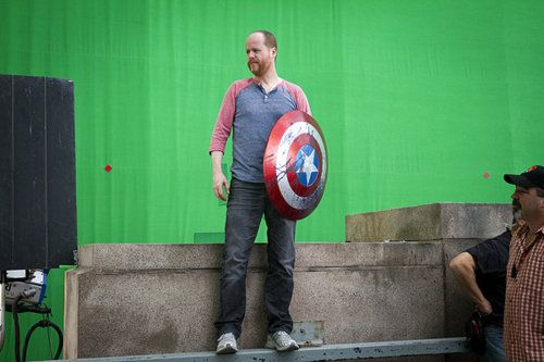 Here is Joss Whedon holding Captain America's shield. Let's not ruin this moment with words.