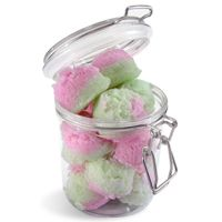 Little ice cream scoops of watermelon-scented salt scrubs. Use one in your bath or shower as a gentle exfoliant on heels, elbows, etc.