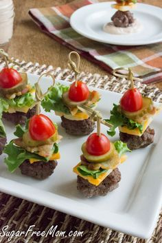 Mini Bun-less Cheeseburgers On A Stick (low carb; sugar free; use gluten free pickles & bacon, if making sauce, use gluten free ketchup, pickles; http://www.sugarfreemom.com/recipes/mini-bun-less-cheeseburger-bites-with-thousand-island-dip