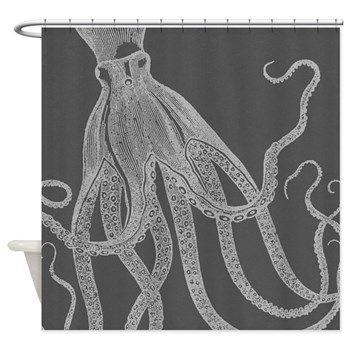 Vintage Octopus Shower Curtain In Grey Curt