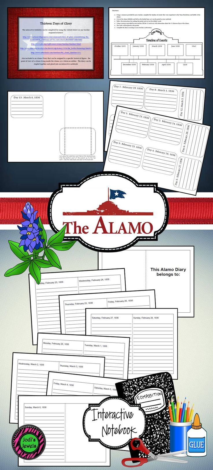 Students will create a timeline of events, an account of the 13 days for the battle and siege of the Alamo in this interactive notebook activity. Students will also create a diary as if they were there on the days that the siege took place.