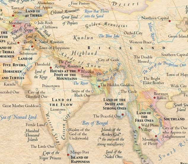etymological world maps with place names swapped out for their original meanings