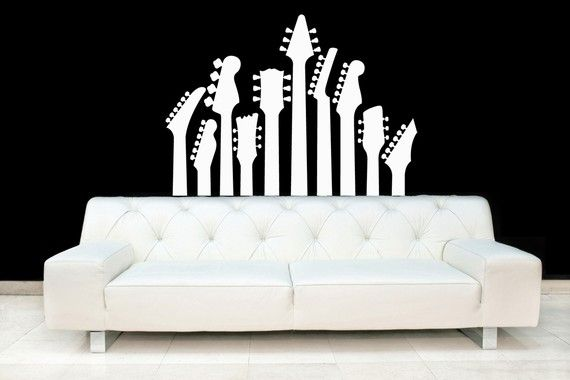 Guitar Necks, Acoustic, Metal, Electric, Rock Band - Vinyl, Decal, Wall, Sticker, Nursery, Home Decor on Etsy, $38.00