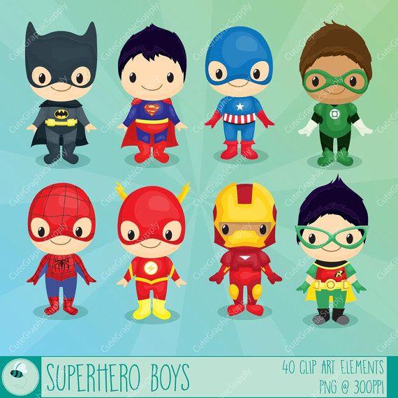 Superhero boys clipart, Superhero clipart, Hero clip art, Super Hero clipart / INSTANT DOWNLOAD -LN069-