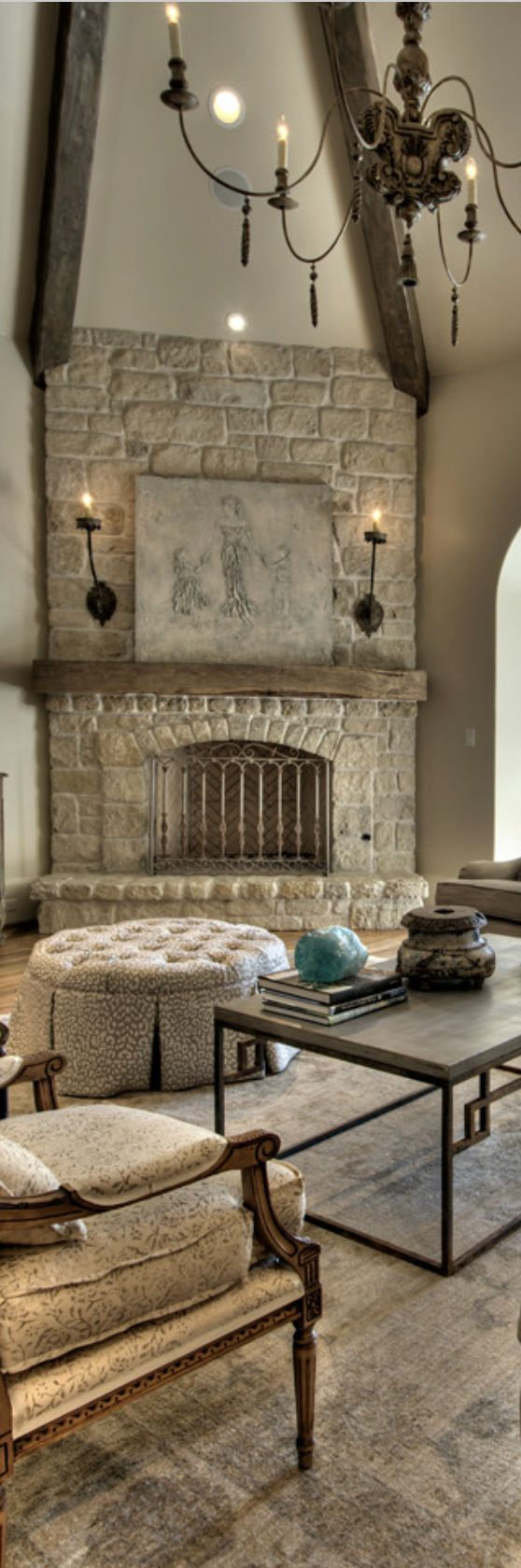 rustic elegance, all neutral color living room. vaulted.