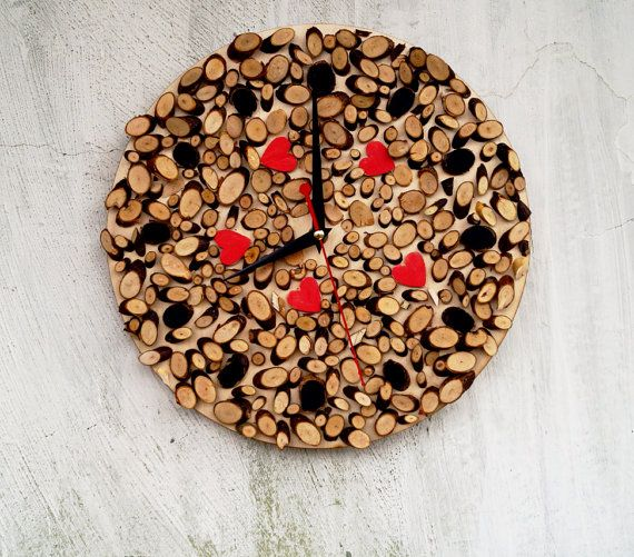 Natural wooden wall clock - Eco Wall Clock- love wall decor - Rustic Modern Wall Clock - large  Rustic Home Decor (scheduled via http://www.tailwindapp.com?utm_source=pinterest&utm_medium=twpin&utm_content=post138561289&utm_campaign=scheduler_attribution)