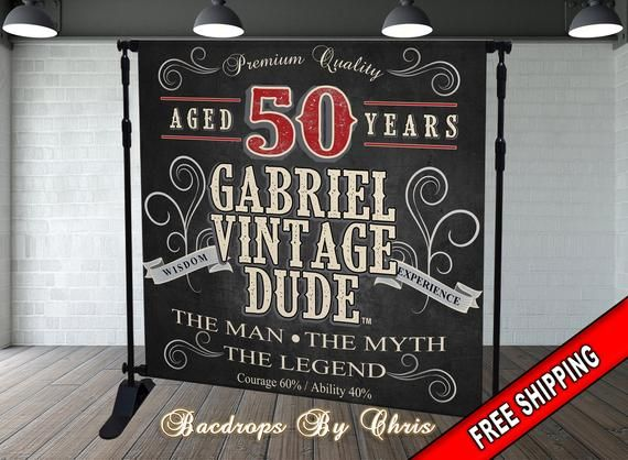 Vintage Dude Backdrop 50th Birthday Backdrop Aged To Etsy In 2020 Birthday Backdrop Vintage Dude Birthday Party 40th Birthday Quotes