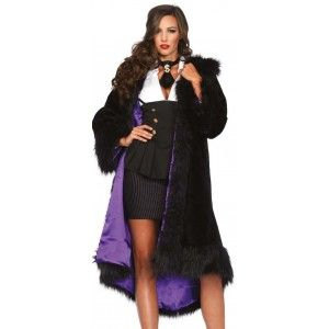 Faux Fur Deluxe Drop Shawl Collar Coat - New at GothicPlus.com Our Price $105.00  Great for anytime as well as Halloween this black faux fur coat has an extended shawl collar that wraps to the back and ends in white fur tails. It is trimmed in longer fur at the high/low hem and 3/4 length sleeves as well as the collar. Open style coat is great for added warmth over any gothic outfit or Halloween costume. You could add your favorite belt if you like.  Falls to knee length the size small is…