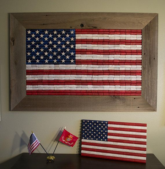 Large Handcrafted Wine Cork American Flag With Reclaimed Cedar Wood Frame