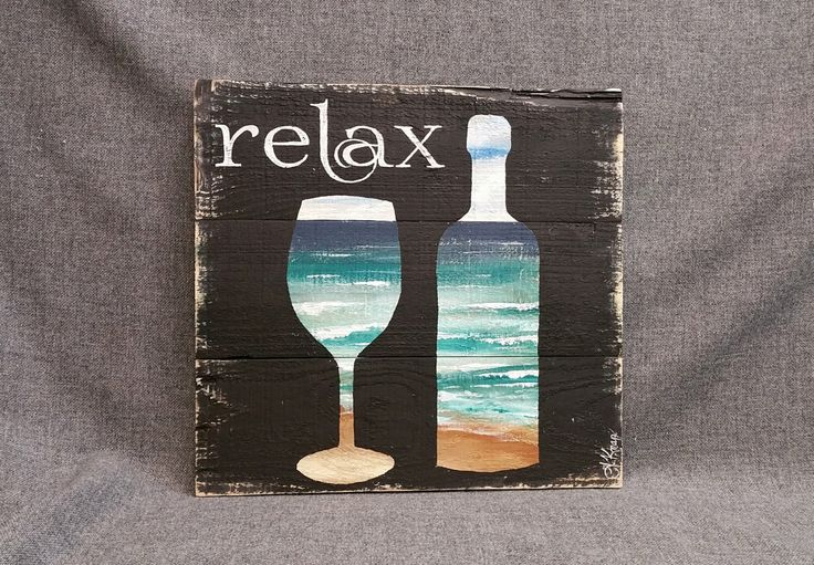 Beach Wine, word sign, Pallet wall art decor, Relax, reclaimed wood, Distressed wine bottles, handmade, hand painted, gift by TheWhiteBirchStudio on Etsy https://www.etsy.com/listing/267490393/beach-wine-word-sign-pallet-wall-art