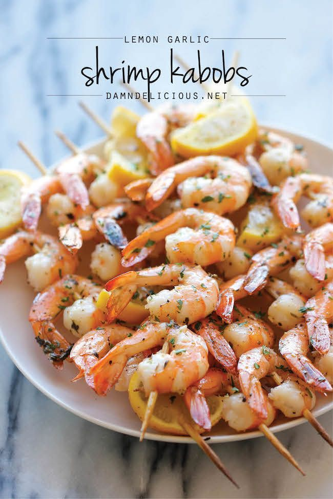Lemon Garlic Shrimp Kabobs   The easiest, most flavorful way to prepare shrimp – so perfect for summer grilling or roasting!