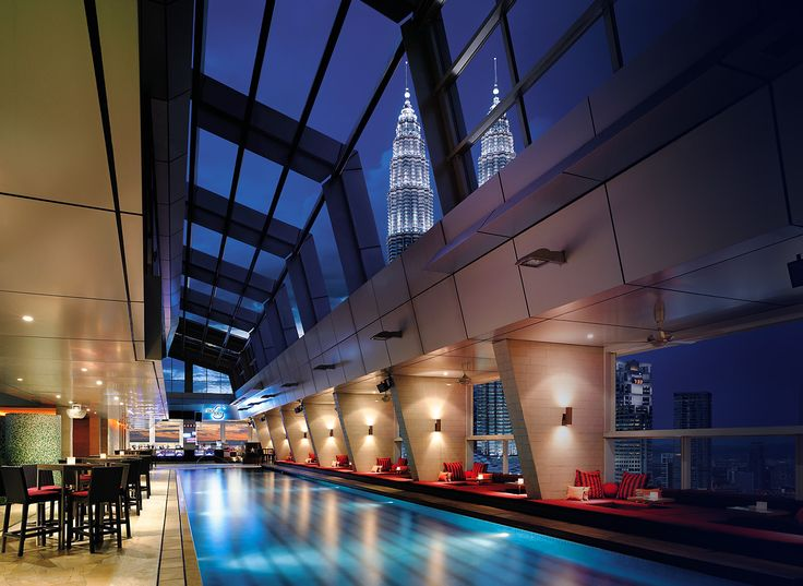 Sky Bar at Traders Hotel in Kuala Lumpur.  Strangely doubles up as a pool daytime...  Best thing about the hotel is access to the Club Lounge when you get a Traders Club Room!   But, you have Mandarin Oriental nearby which is even better.