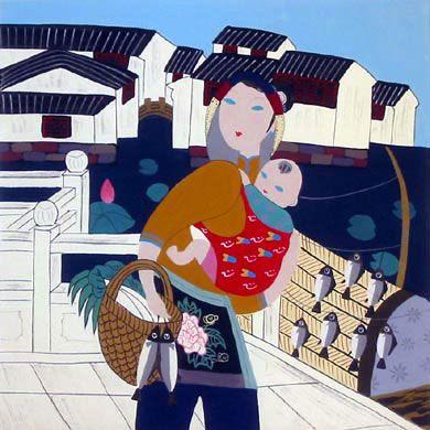 """Mother Carrying Baby Boy"" by Qian Li-Qun (who also paints under the pen name of Yian Ren)"