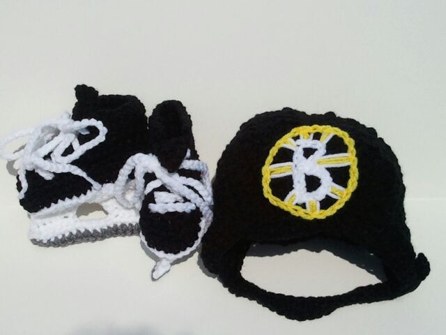 Boston Bruins Helmet and Ice Skates, NHL Bruins, Hockey Skates. $30.00, via Etsy.