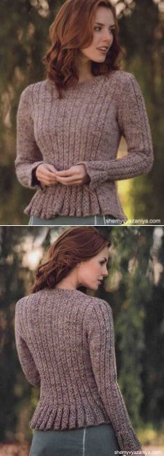 Пуловер Giulietta с баской и узором из кос