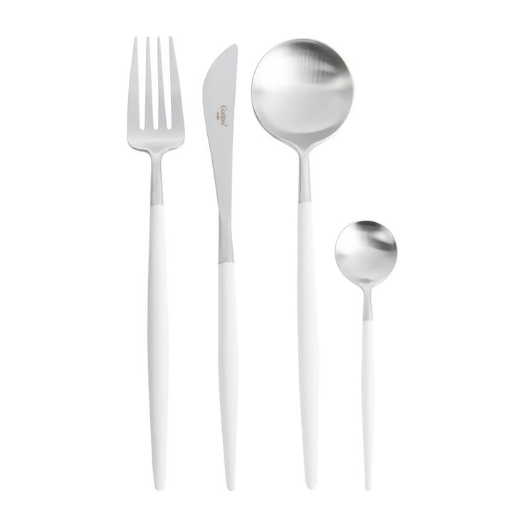 Add a sense of occasion to meal times with this stunning 24 piece cutlery set from Cutipol. With sleekwhiteresin handles this luxurious set contains six knives, six forks, six spoons & six tea spo