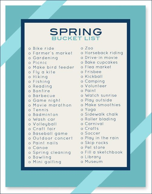 50 Things to Do in the Spring-I would love for my family to make one of these for every season