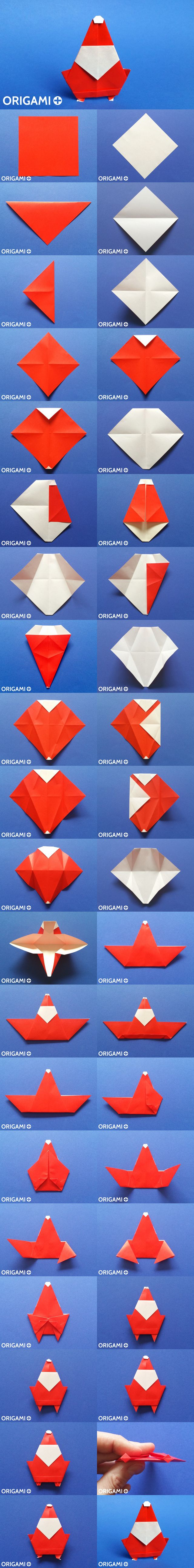 17 best images about origami santa on pinterest watches for Make origami santa claus