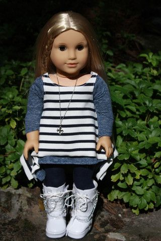 Trendy American Girl Doll Clothes Handmade Layered Shark Bite Tunics, Jeggings Julie is ready for a beautiful fall weekend in her layered shark-bite tunics and jeggings. The long sleeved tunic is made