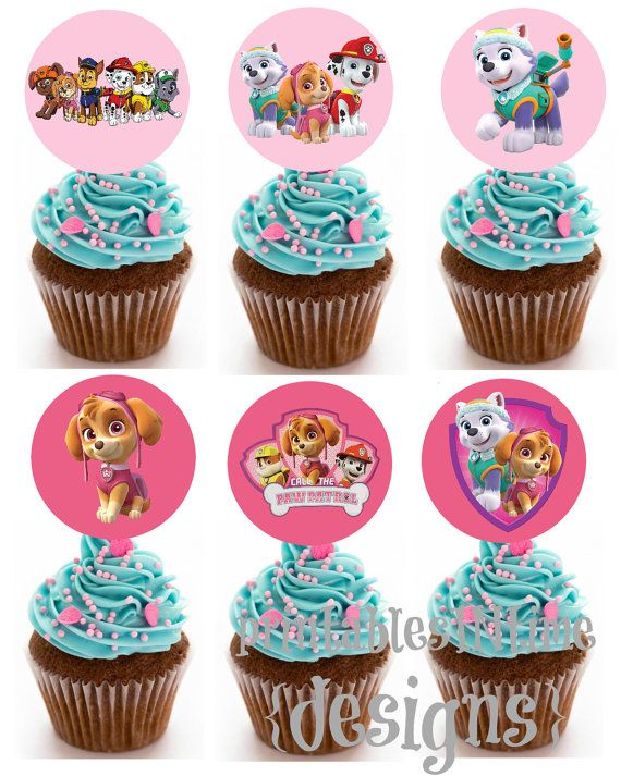 Paw Patrol cupcake toppers party circles GIRL by PrintablesINTime