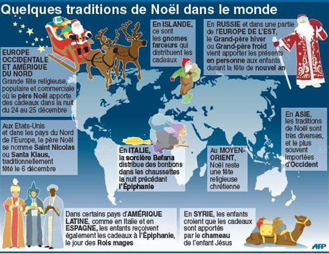 Quelques traditions de Noël dans le monde. (Infographie AFP)