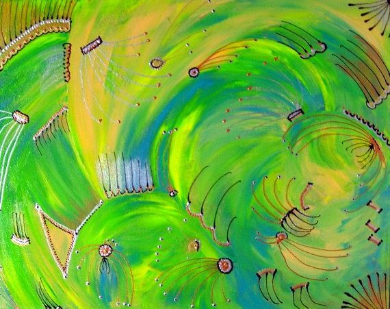 Fossils on Green by TopazeDesigns on Etsy, $175.00