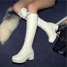 scarpe da donna punta rotonda grosso tacco stivali alti al ginocchio più colori disponibili – EUR € 32.66