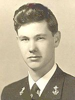"""John W. """"Johnny"""" Carson (1925-2005). Ensign, U.S. Navy 1943-45 WW II. He enlisted as a Seaman Apprentice and later received a commission. He served as OIC of decoding messages on the USS Pennsylvania in the Pacific."""