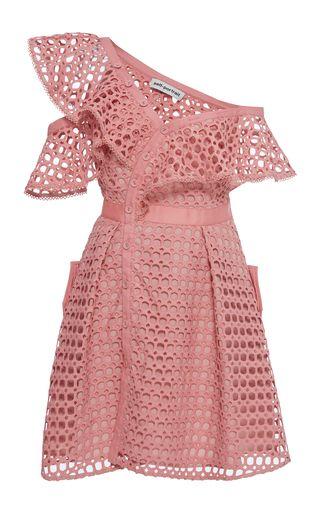 Medium self portrait pink ruffled off the shoulder dress