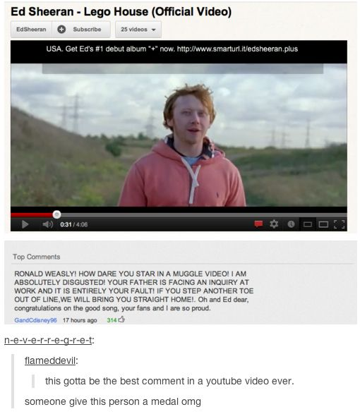 I found this on my tumblr dash today. The harry potter fandom rocks. #ronweasley…