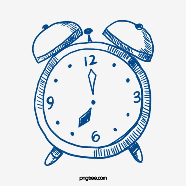 Line Drawing Blue Alarm Clock Clock Illustration Clock Hand Painted Cartoon Png Transparent Clipart Image And Psd File For Free Download Clock Drawings Clock Blue Clocks