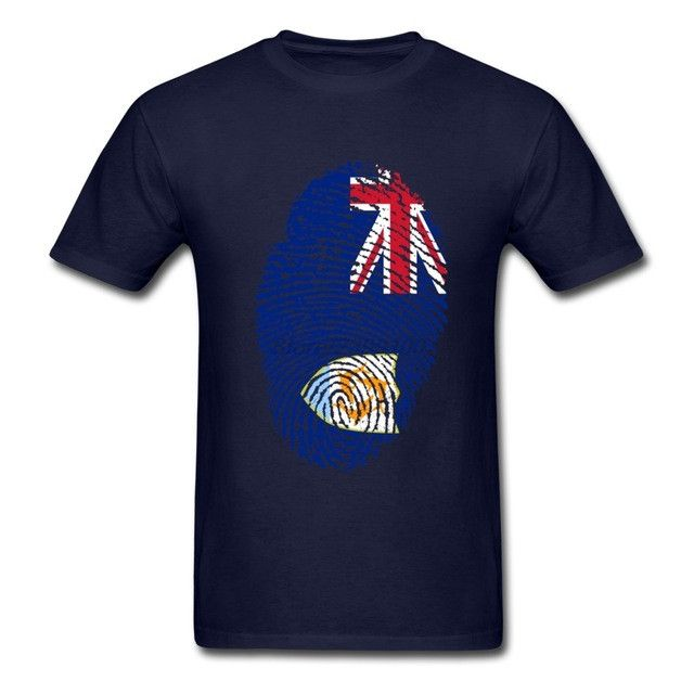 Anguilla Flag Fingerprint Men's T-Shirt