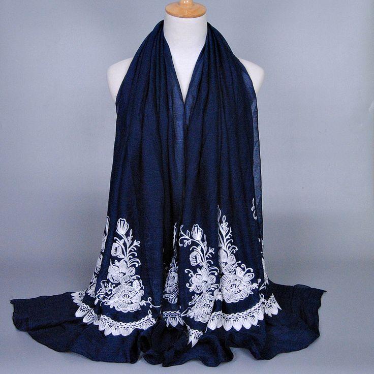 Wholesale Embroider floral COTTON fashion flower long shawls popular winter wrap muslim head hijab scarves/scarf