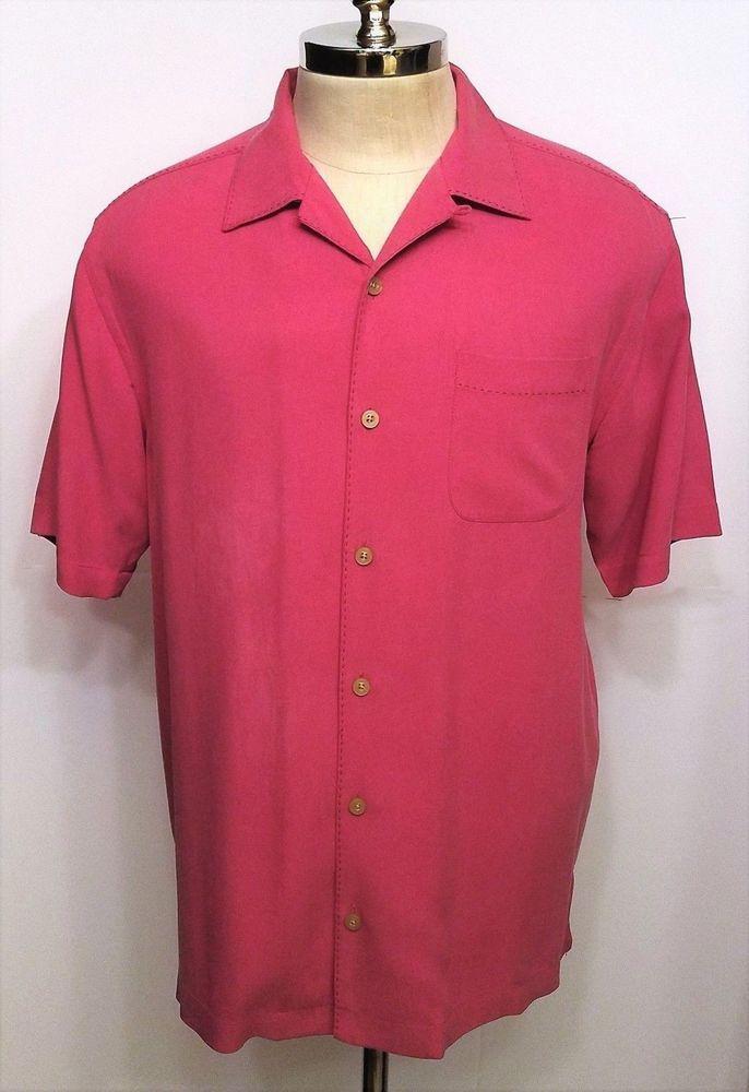 81e99a4b7e3ff9 Tommy Bahama Silk Shirt Bright Pink Fuschia Size Small  TommyBahama   CampShirt