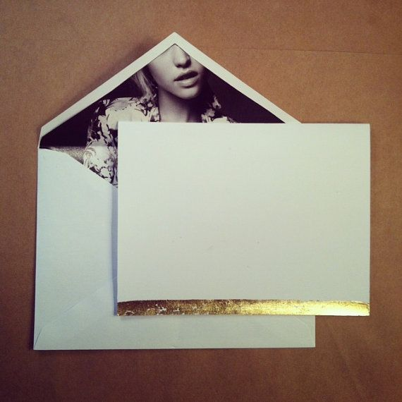 Fashion ad lined envelope and sleek gold leaf card. www.albertalagrup.com