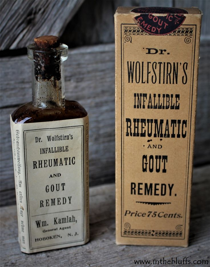 Dr. Wolfstirn's Infallible Rheumatic and Gout Remedy Corked Bottle in Box – Quack Medicine Drug Store – William Kamlah Hoboken New Jersey