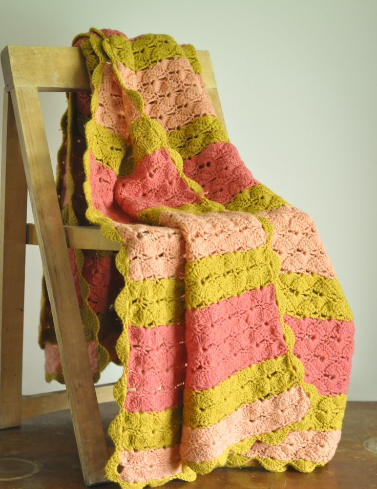 Vintage Afghan Throw Blanket 70s Pink Peach Green Scalloped Delight by drowsySwords on Etsy