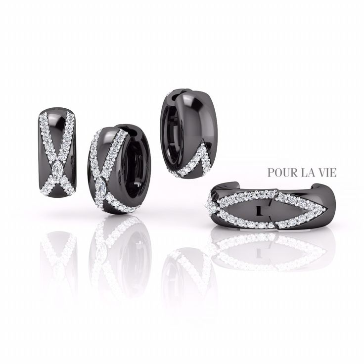 18k black gold with marquise diamond! Let's try to wear black gold! Email: designer@pourlavie.com